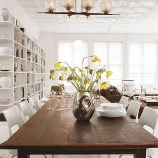 White chairs soon: Dining Rooms, Interior Design, White Chairs, Rustic Dining Table, Diningroom, Wood Tables, Kitchen Table, Dining Tables, Michelle Sanders