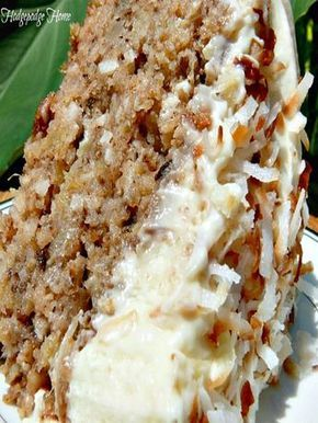 Hawaiian Wedding Cake with Whipped Cream Cheese Frosting - no need to wait for a wedding to make this delicious pineapple, coconut, walnut, cinnamon and sugar cake that will have you going back for seconds, maybe thirds!