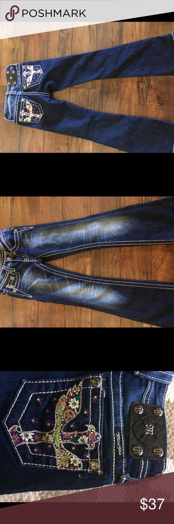 Girl's Miss Me jeans size 7 excellent condition Little girls dark blue boot cut Miss Me jeans in excellent condition. Only worn a couple times and never put in the dryer. Miss Me Bottoms Jeans