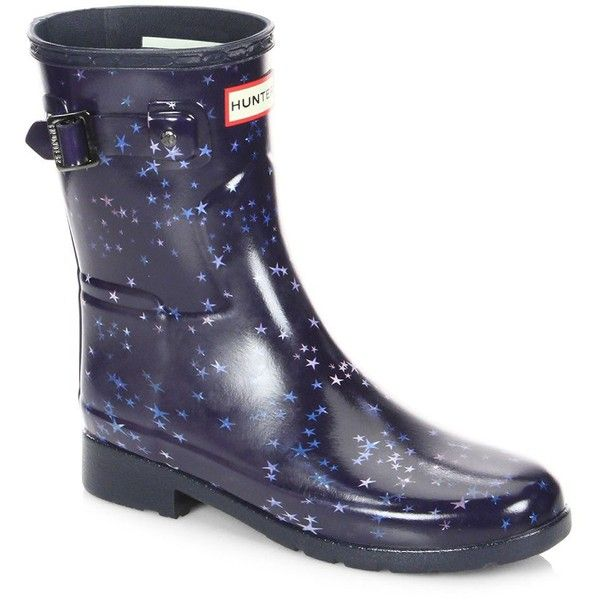 Hunter Refined Constellation Print Short Rain Boots ($155) ❤ liked on Polyvore featuring shoes, boots, short welly boots, round toe boots, rounded toe boots, rubber boots and wellies boots