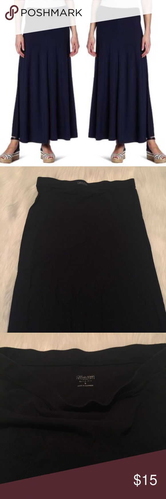 Calvin Klein Performance Maxi Skirt This maxi skirt has dry wick material making it super comfy on hot days! Flattering waistline and a jersey knit type of feel with some stretch. Navy blue, never worn. Fits more like a medium IMO. Calvin Klein Skirts Maxi