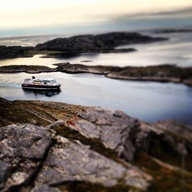 The Hurtigruten passing Bessaker in Trøndelag.