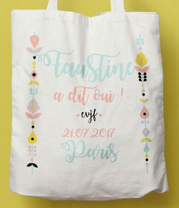 Tote bag coton personnalisé EVJF Scandinave, sac coton EVJF, cadeau future mariée
