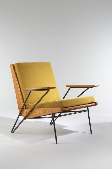 1953 Vintage Armchair | Design: Pierre Guariche | Ash, black enameled metal, upholstered #mcm #armchair