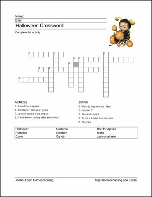 halloween wordsearch crossword puzzle and more - Halloween Crossword Puzzles With Answers