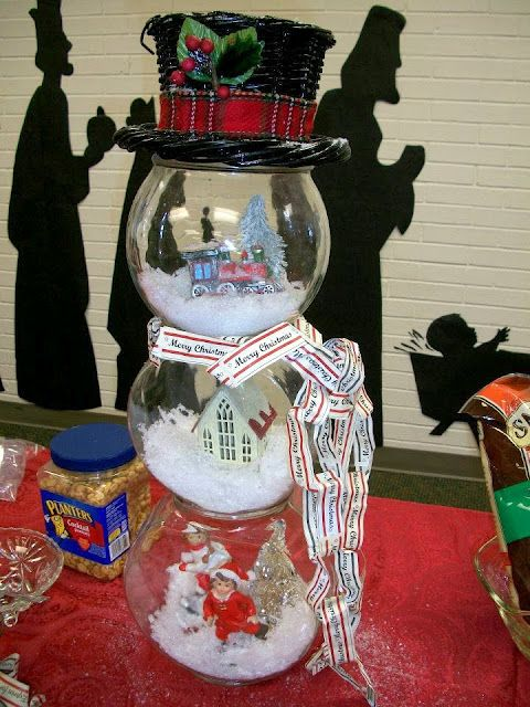 """Pinner said """"I bought the fishbowls (round bowls - no flat sides), some cute miniature Christmas town people and some miniature lamposts and I am excited to make these! I just need to find baskets for the hats...they are way too cute! The bowls and Christmas town people I found at the Dollar Tree. """"- AB"""