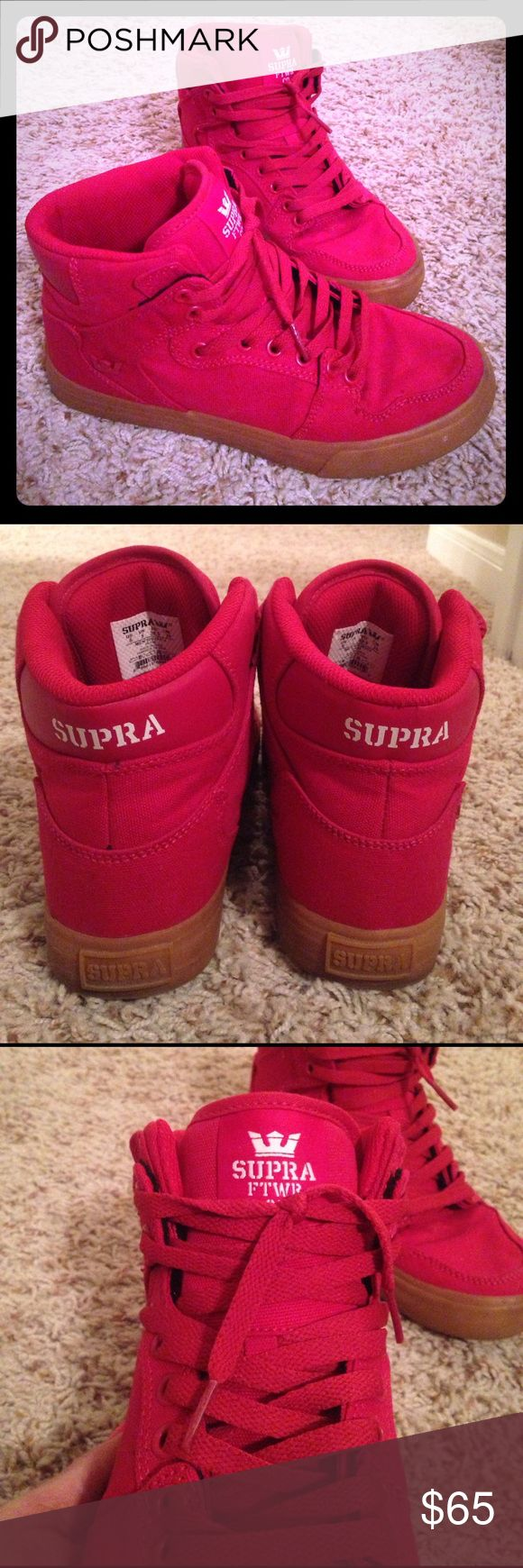 Supra hi-tops Cherry red hi top sneakers. Gum sole. 9/10 condition.  Men's 6 - women's 7.5. Supra Shoes Athletic Shoes