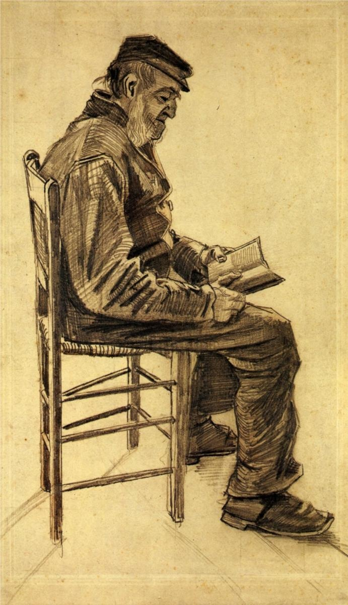 Old Man Reading - Vincent van Gogh - reminds me of one of my favorite residents at work