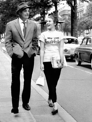 For some reason, Jean Seberg's outfit in this scene in Breathless is one I come back to over and over. Tight black pants, flats, and a tee shirt. Makes me want to chop off my hair again!