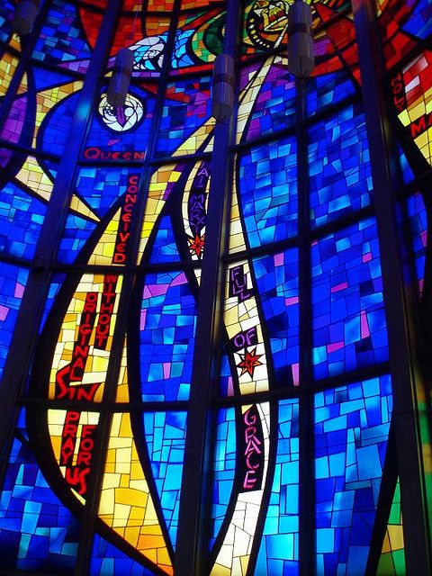 Contemporary stained glass window. Immaculate Conception Church, Chicago, by repowers via Flickr