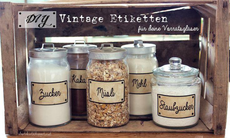 {DIY} Vintage Etiketten für deine Vorratsgläser   Freebie                                                                                                                                                                                 Mehr