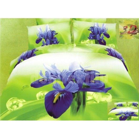 Zelená posteľná súprava bavlnených obliečok s modrým kvetom