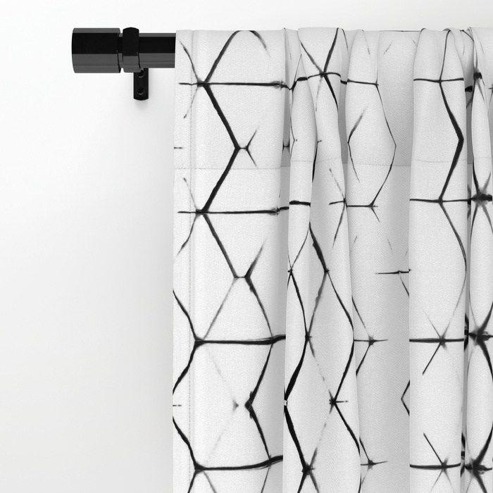 Shibori Diamonds In Black And White Window Curtains White Windows Printed Curtains Curtains