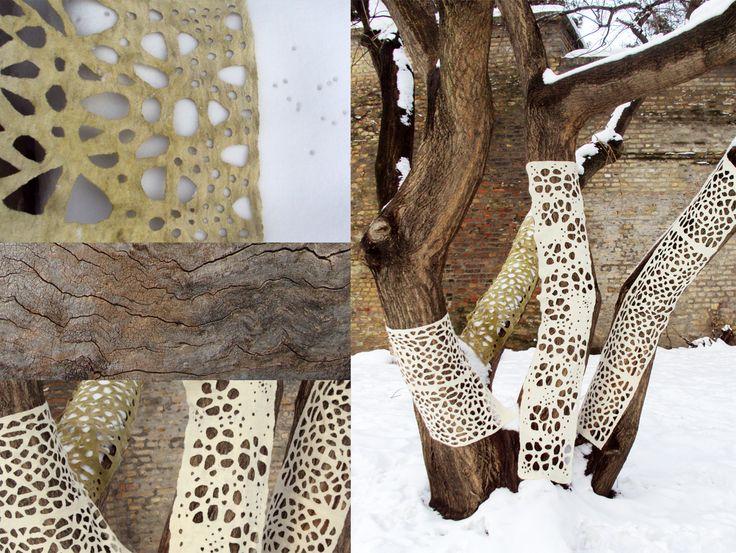Land art installations 2012 Hand felted by Vanda Robert
