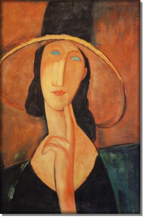 Portret w słomianym kapeluszu - Amadeo Modigliani - Obrazy olejne i dekoracje na ścianę - RamaRama.pl
