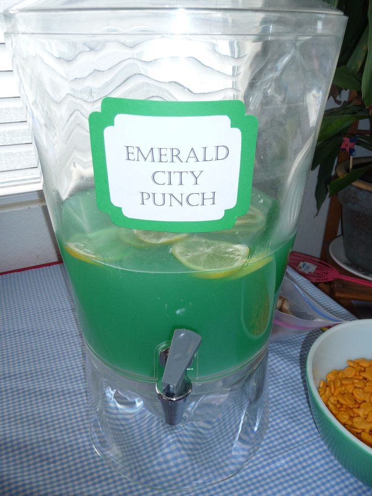 The Lemonade that was made with green food coloring for our Wizard of Oz party.  Prepare lemonade and add some green food coloring and top off with lemon slices.