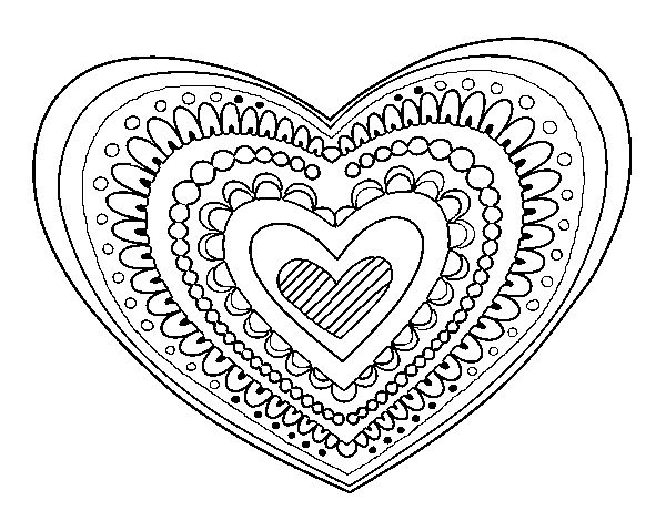 coloring page heart mandala to color online coloringcrewcom