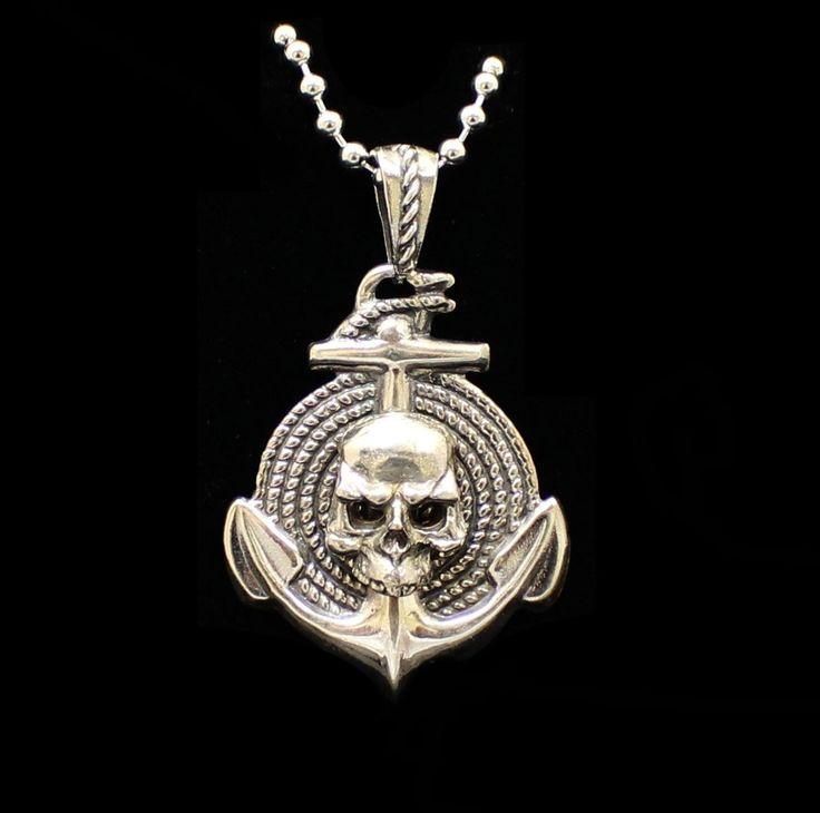 """Anchor, Skull  & Rope"" Sterling Solid .925 Silver -UDINC0108"