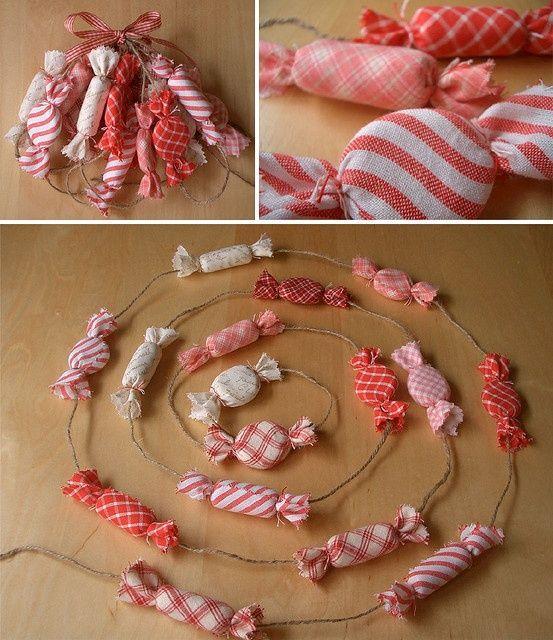 Fabric peppermint garland