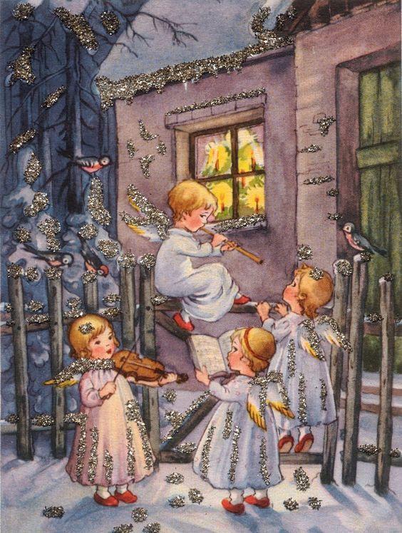 Днем рождения, рождественский сочельник немецкий открытка