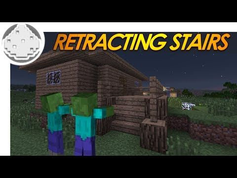 Minecraft Redstone: RETRACTING STAIRS! How to Keep Zombies Out of Your House! (Minecraft Redstone) - YouTube