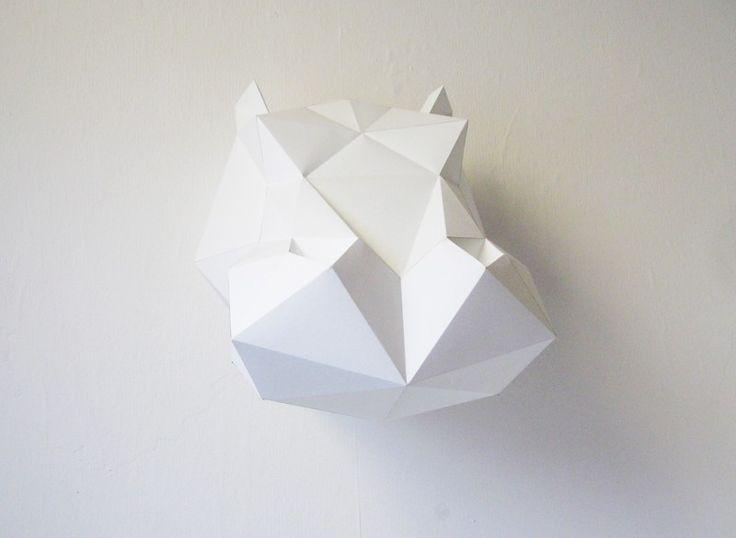 Trophée origami en papier Hippopotame - Blanc