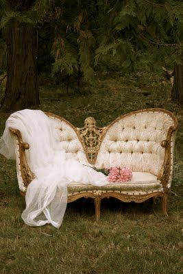 Tale of a French Settee love this for my room but painted antiqued silver instead of the gold