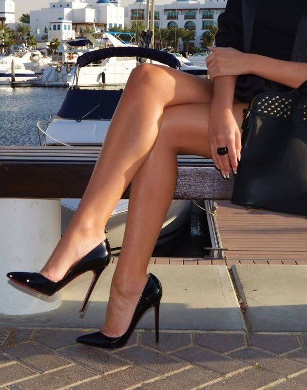 Black patent high heel pumps