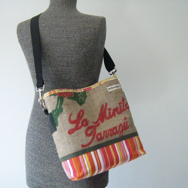 Recycled Burlap Coffee Bean Sack and Fabric by OneWomanStudio