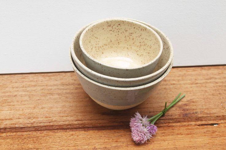 Nesting stoneware bowls by Stinging Nettle Studio