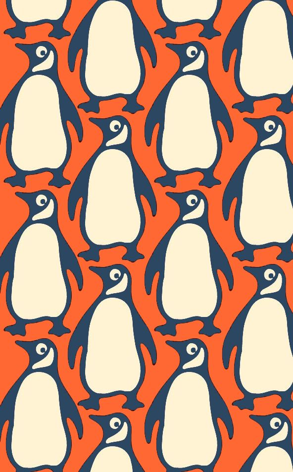 Penguins pattern - by ??? (though this version of the Penguin Books logo is the one designed in 1946 by Jan Tschichold)
