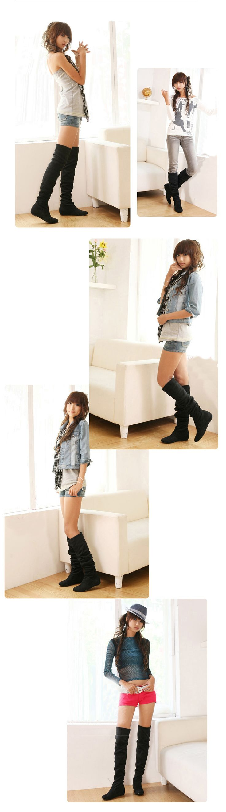 Women boots 2014 spring autumn ladies fashion flat bottom boots shoes over the knee high leg suede low heels boots brand-inBoots from Shoes on Aliexpress.com