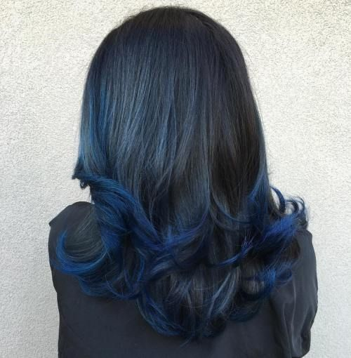 Deep Blue Dip Dye . Prefer subtle dip die or balayage on my ends and hidden undeath my natural brown/caramel color. (not black or grey crown)