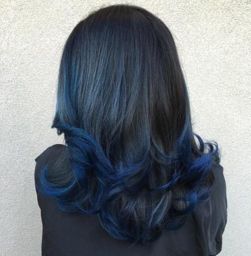 Deep Blue Dip Dye . Prefer subtle dip die or balayage on my ends and hidden undeath my natural brown/caramel color. (not black or grey crown)