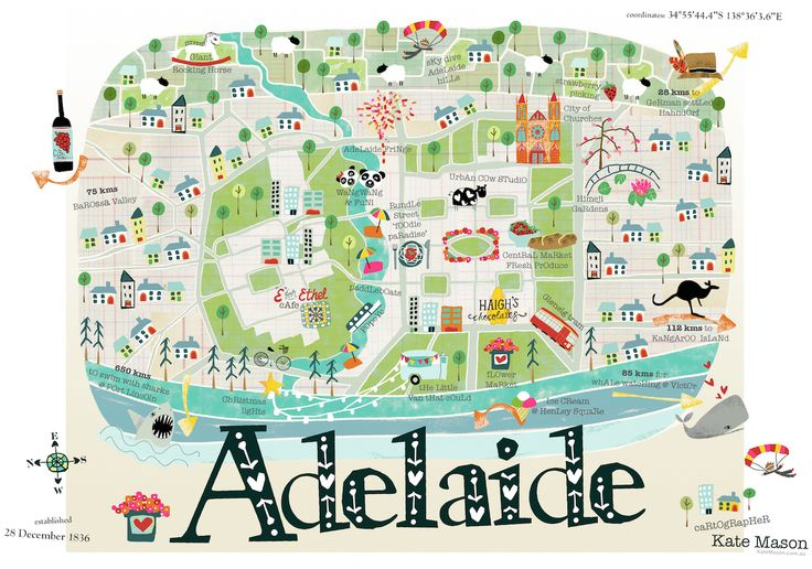 Illustrated Map of Adelaide by Kate Mason To learn more about #Adelaide | #SouthAustralia, click here: http://www.greatwinecapitals.com/capitals/adelaide-south-australia