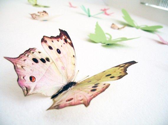 15 3D Wall Butterflies,3D Butterfly Wall Art, Decoration, Pink, Green, 3D Wall Decor,Nursery, Baby, Wedding Decor, Baby Shower, Girls Room on Etsy, $25.00
