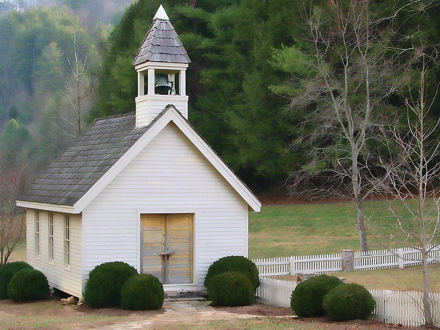 The little white chapel at Blackberry Farm in Tennessee