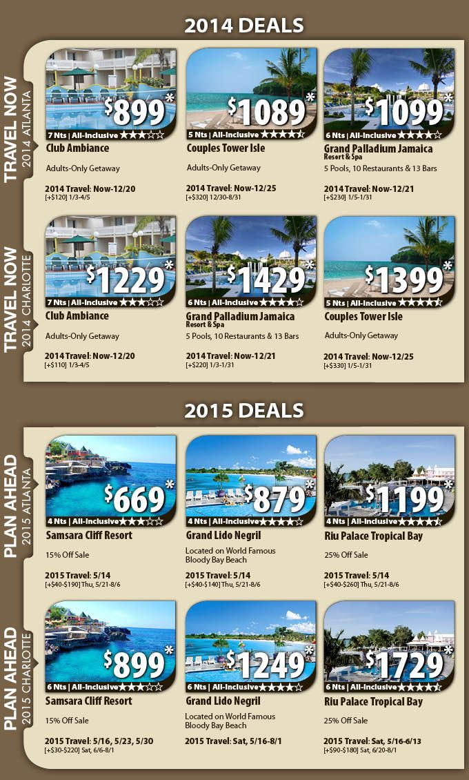 Jamaica Vacation Specials with Air/4 nights from $669 Jamaica Vacation Packages & All-Inclusive Deals with Flights from Atlanta or Charlotte  Book your Atlanta or Charlotte to Jamaica vacation package with Vacation Express and get the best deals for your favorite destination. These unbeatable deals include airfare from Atlanta or Charlotte, hotel, local representative and all taxes.  For Details Contact http://taylormadetravel.agentarc.com  taylormadetravel142@gmail.com  call 828-475-6227