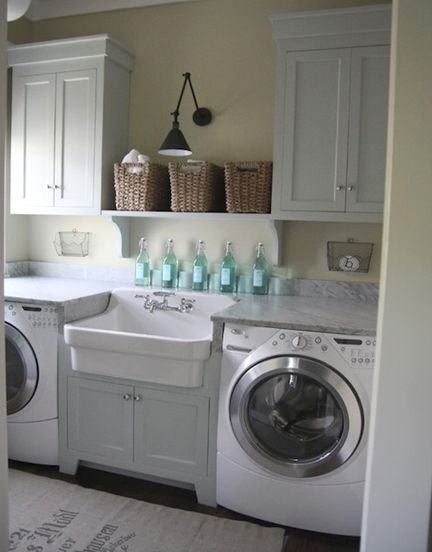 Think outside the box when it comes to your laundry room. Good decorating and organizational ideas.   #laundryroom, #laundrydecor