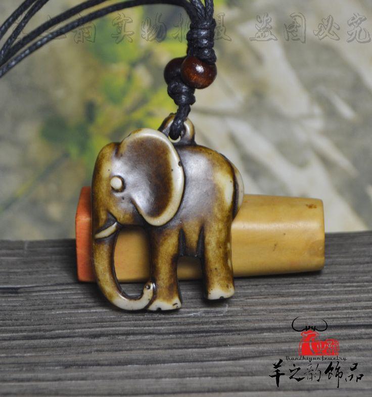 Купить товарЯк кость винтаж тибетский ювелирные изделия слон подвеска персонализированные ожерелье небольшой аксессуары в категории Подвескина AliExpress.