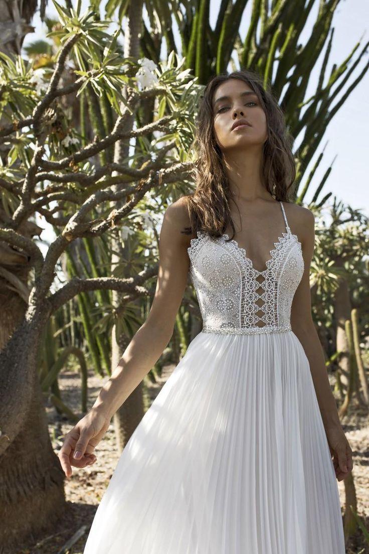 2016 Asaf Dadush Wedding Dresses A Line Spaghetti Neck Beaded Backless Chiffon Wedding Dress Boho Lace Bridal Gown