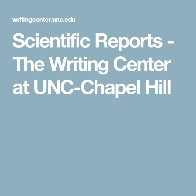 Scientific Reports - The Writing Center at UNC-Chapel Hill