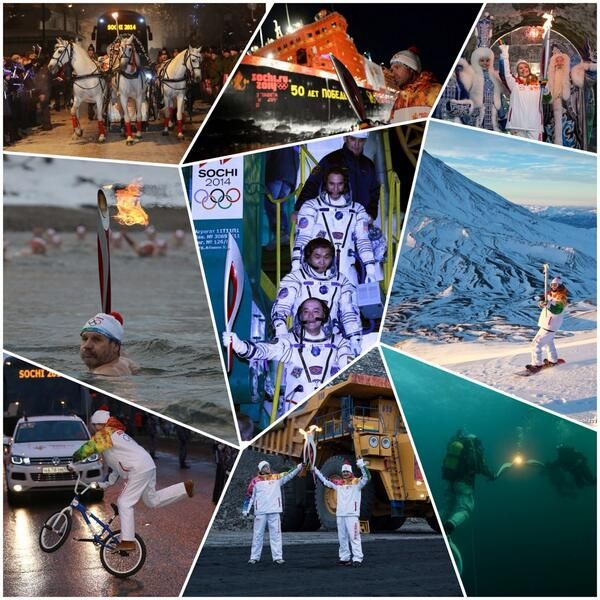 Olympic medallists and cosmonaut lead celebrations for day 100 of Sochi 2014 Torch Relay