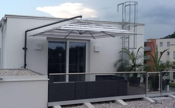 Solero Sonnenschirme Ampelschirm / Freiarmschirm Maßanfertigung 350 X 350 Cm  Mit Lamellensystem Und Wandhalterung