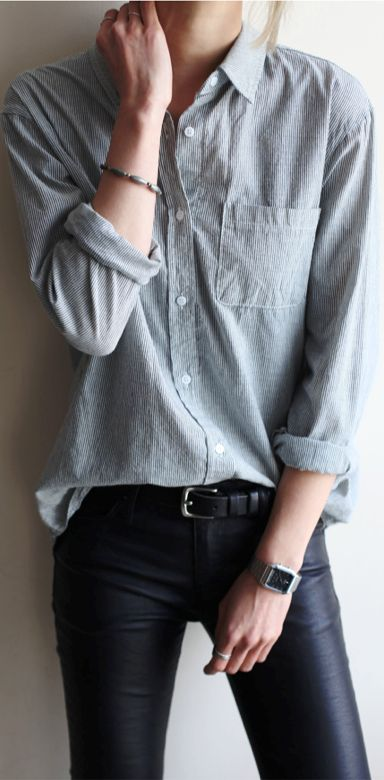 Love this whole look--the chambray shirt + leather pant--so comfortable, so casual, yet so stylish