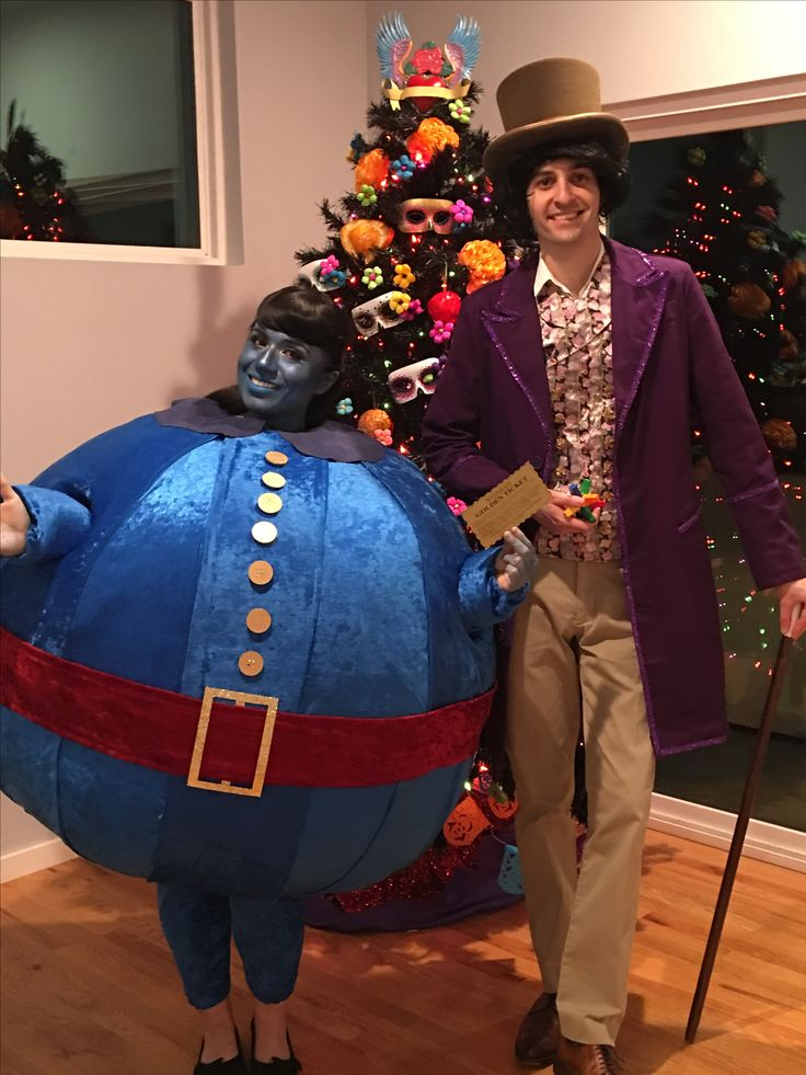 """Willy Wonka and Violet Beauregard Halloween Couples Costume 2016! """"Violet! You're turning violet, Violet! Lightweight body made reinforced chicken wire, one hula hoop and batting - IG: @Lucybri83"""