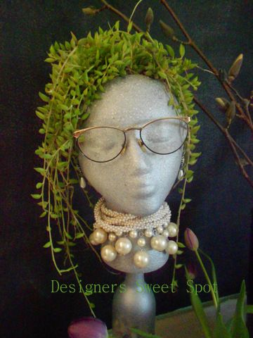 Make your own garden head planter.  Get a foam head from the craft store, Magikote Primer, and some Krylon Stone Metallic Spray Paint.  Click link for directions.