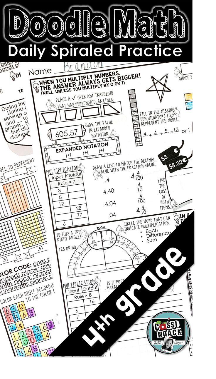 Doodle Math Practice Pages 4th Grade Spiraled Teks Homework Or Warm Ups Math Teks Math Expressions Math Practices