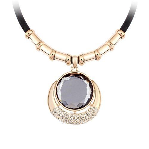 Arany- és füstszín kör kristály nyaklánc