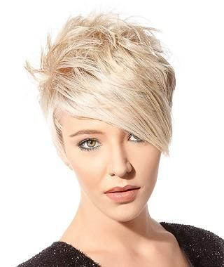 A Short Blonde straight coloured spikey choppy womens haircut hairstyle by Goertz Hair
